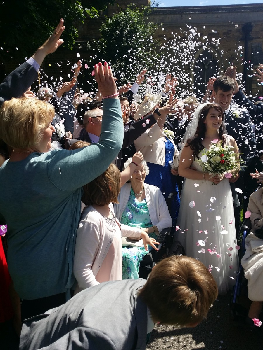 Confetti at a wedding