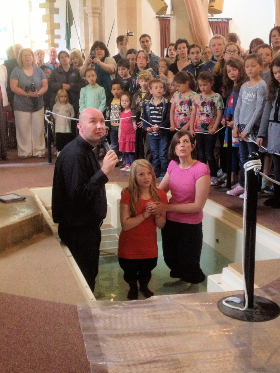 Baptism by immersion in the church baptistry