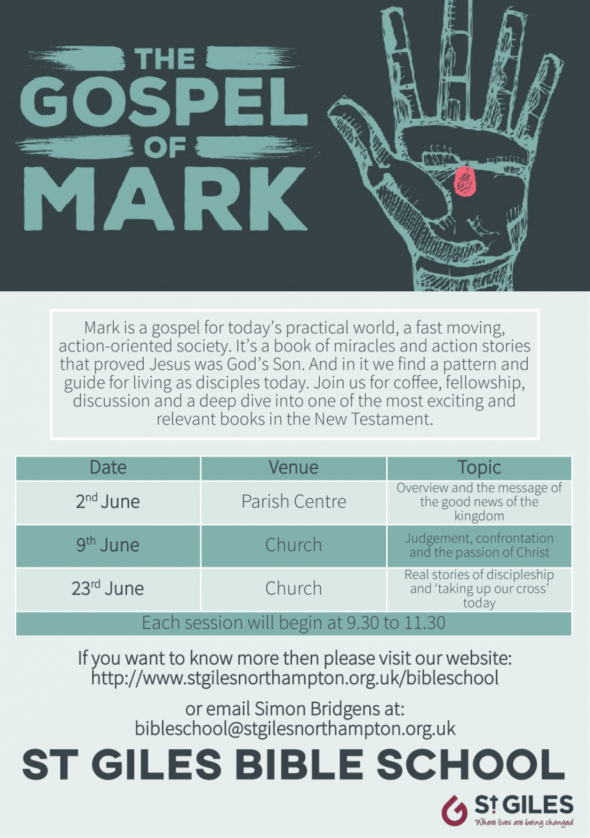 Leaflet with details of the Gospel of Mark course