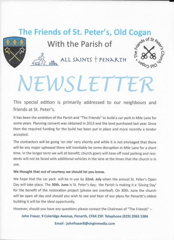 Special Edition of Friends Newsletter p 1