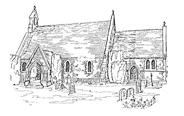 Hand-sketched picture of Holy Trinity, Seer Green & Jordans