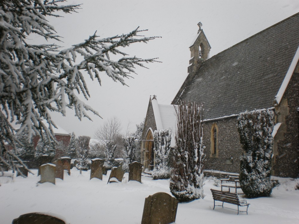 Snowy scene of Holy Trinity church