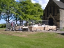 The narthex walls rising