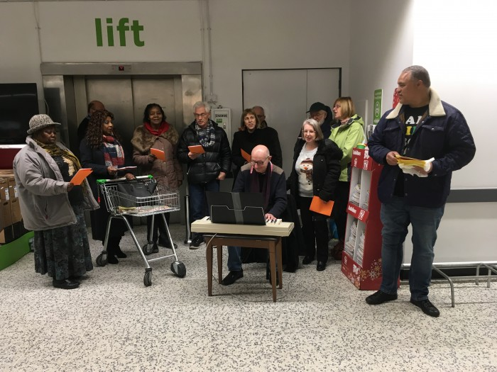 Carol Singing inside Asda with Churches Together in Kingsbury & Queensbury