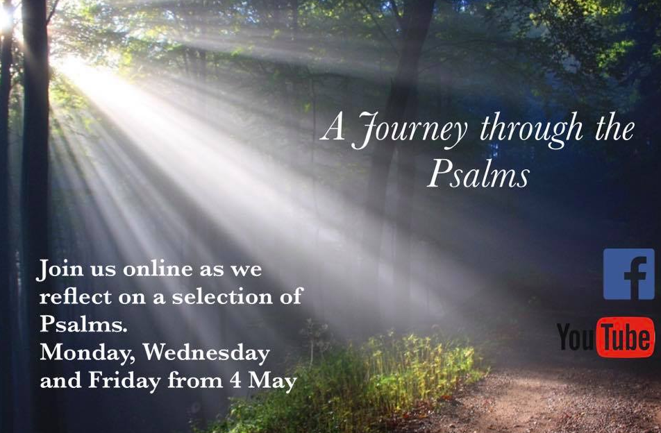 imag eof journey through the psalms poster, showing sunlight shining through trees onto a forest path