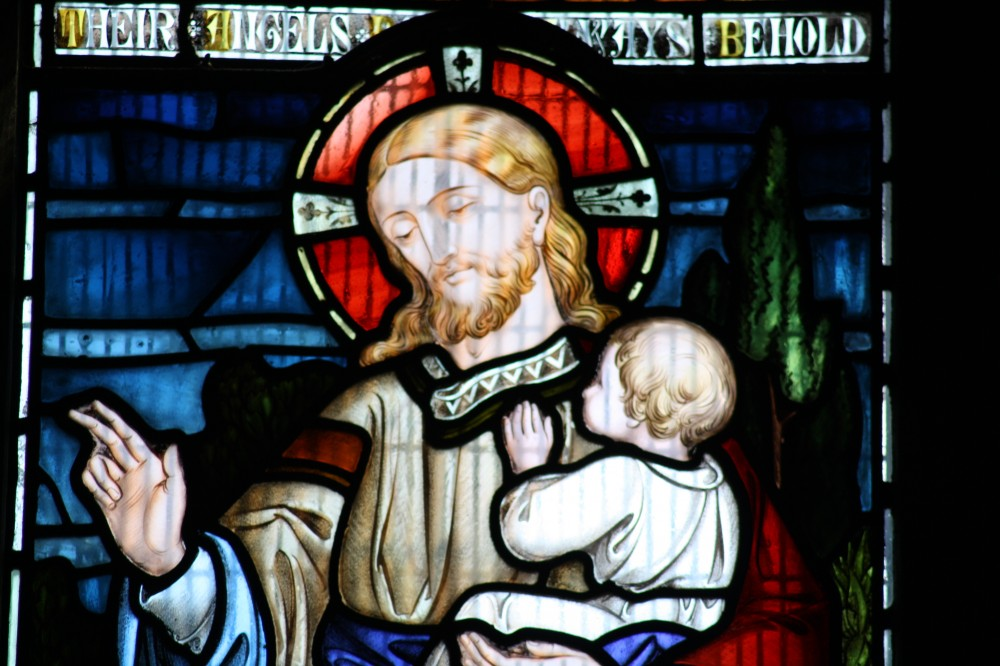 image of stained glass window Jesus and baby