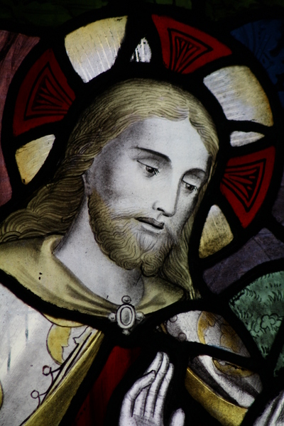 image of stained glass window Jesus