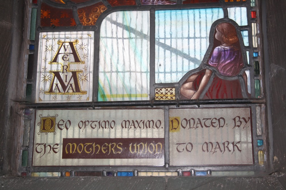 image of stained glass window inscription