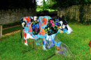 This wonderful life size cow was created by local artists Lynn and Brian Baxter, Great Elm