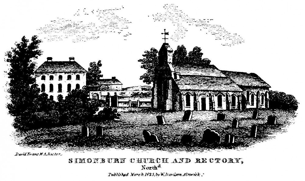 Old print of Simonburn Church and Rectory, published 1825