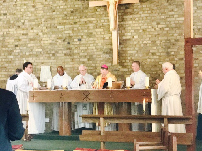 Concelebrants and Bishop Roger