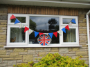The Vicarage decorated with bunting and a 'flag'