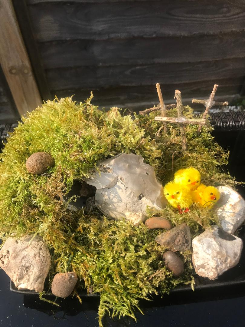 Zac and Abagail's Easter Garden