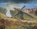 Simon of Cyrene helps Jesus carry the cross, by Joan Hobbs