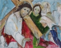 Jesus meets the women of Jerusalem, by Norma Doveton