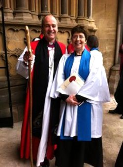 Photo of Suzi with Bishop Lee at her Licensing