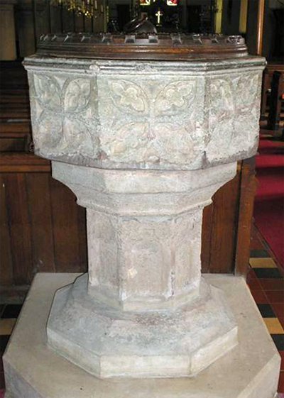 font in Heckfield Church