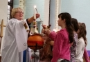 lighting the Christingle candle