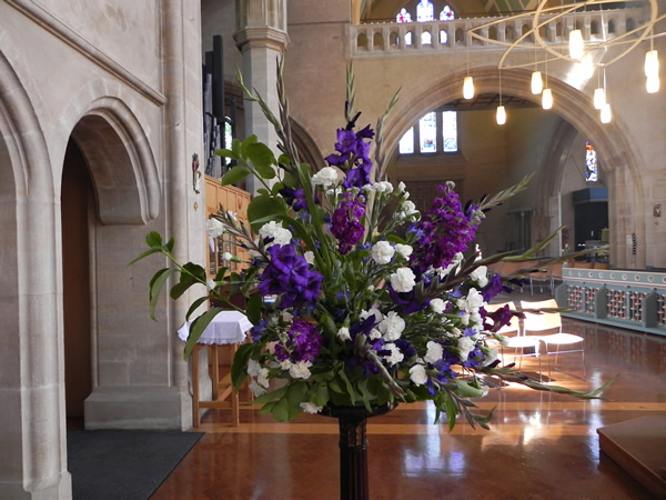 Standalone floral display in church