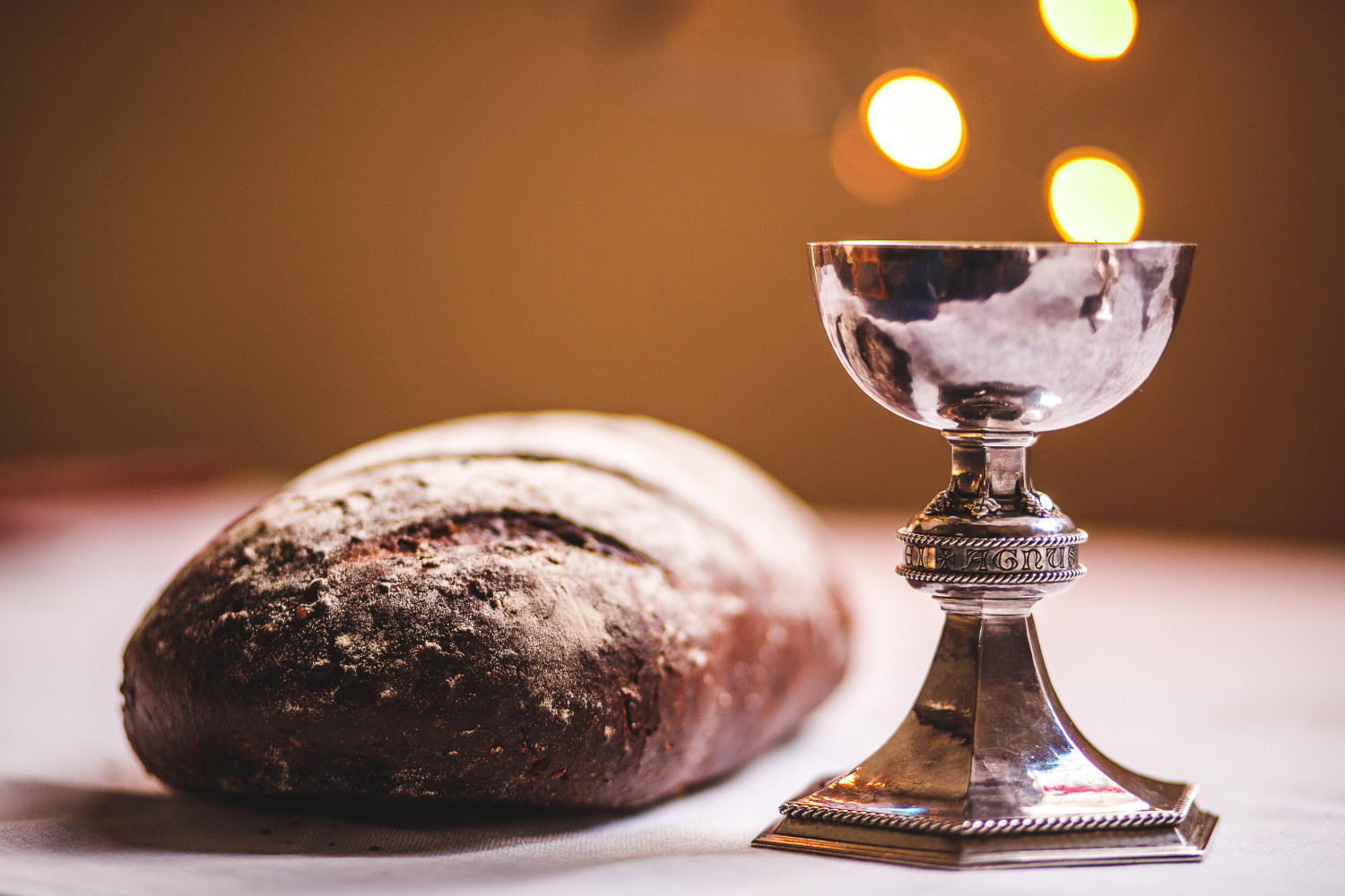 Image of bread and wine for the eucharist