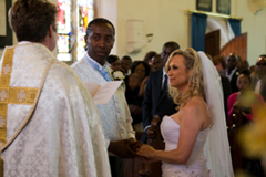 Image of a couple getting married in church