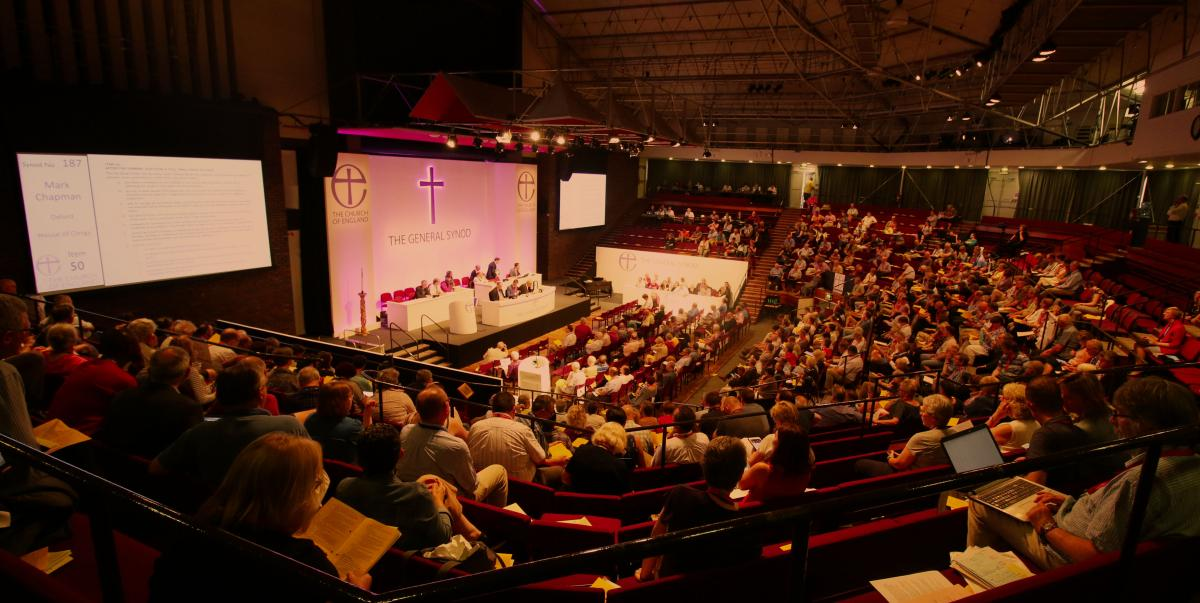 Image of a hall full of people at General Synod