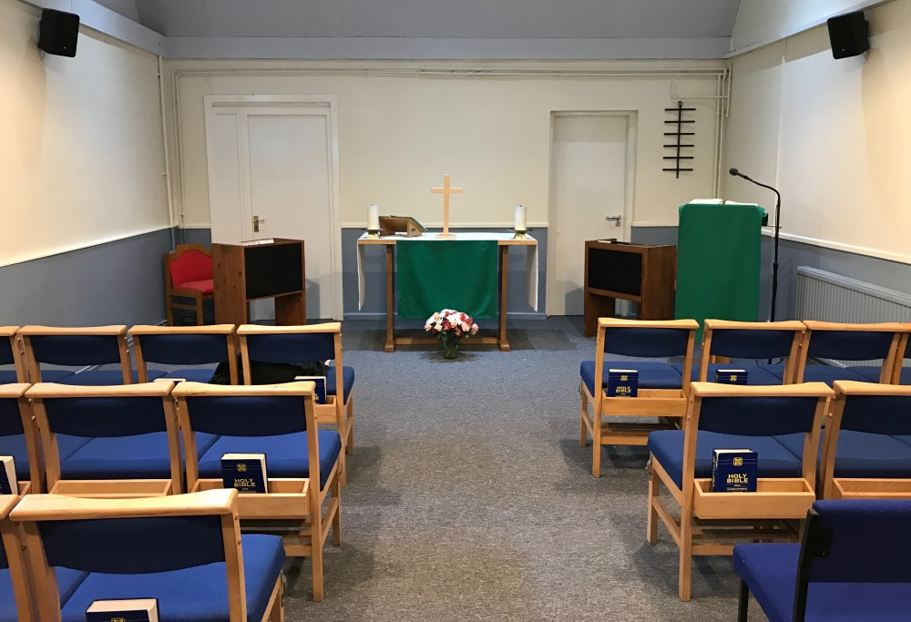 Inside temporary chapel