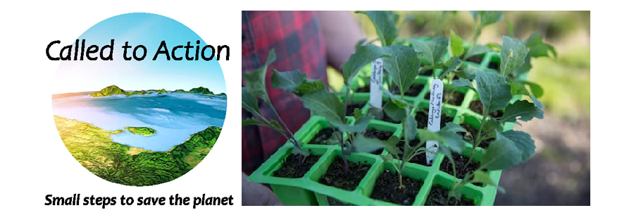 Called to action logo and a picture of compost