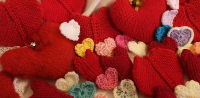 Open Spreading the love with knitted hearts!