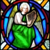 Green angel with harp