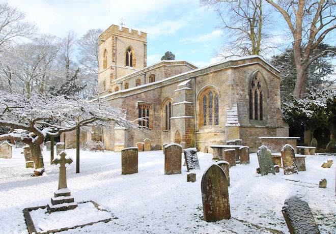 St Mary's Easton Neston in the Snow