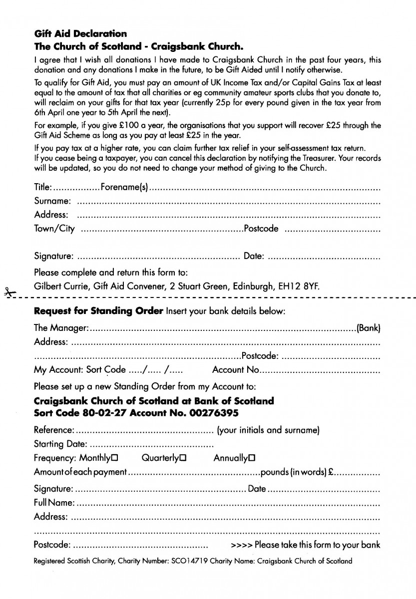 Craigsbank Parish Church – Direct Debit Form