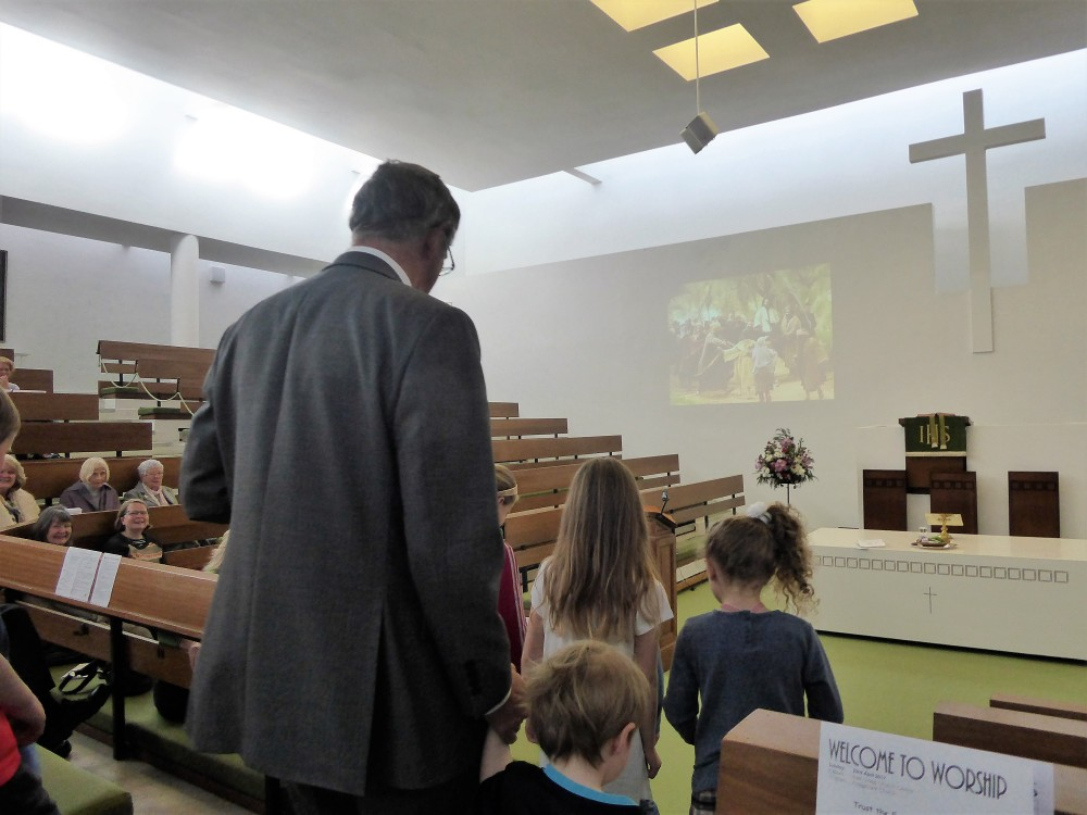 martin in church with the children