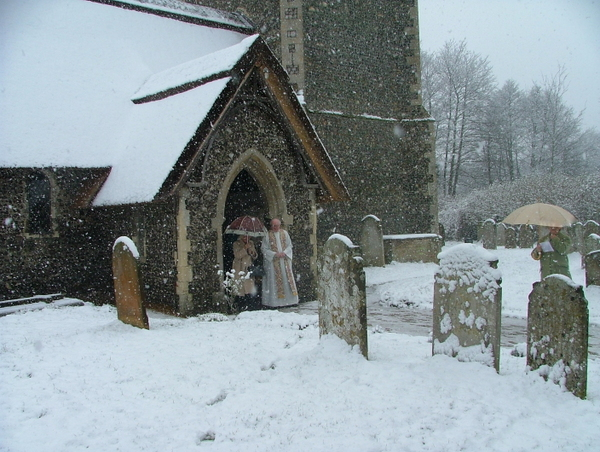Church porch in snow