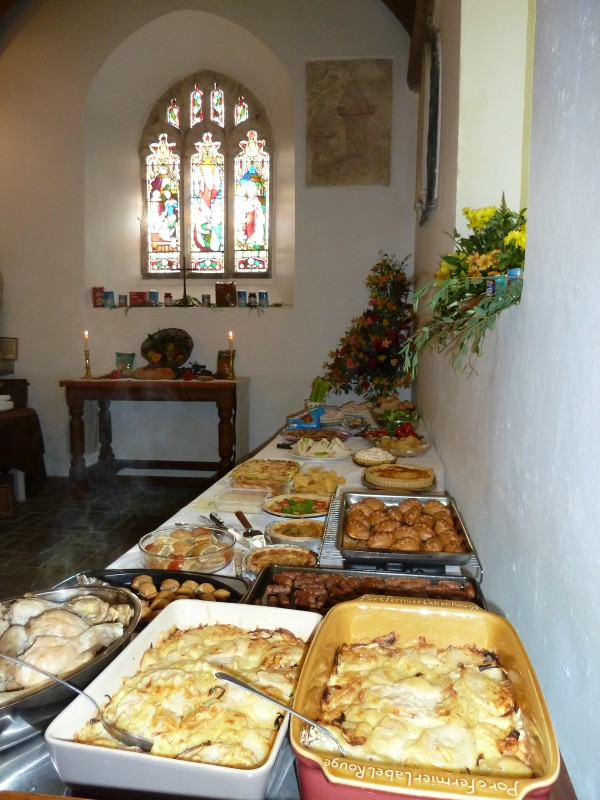 The wonderful buffet we all provided for the congregation!