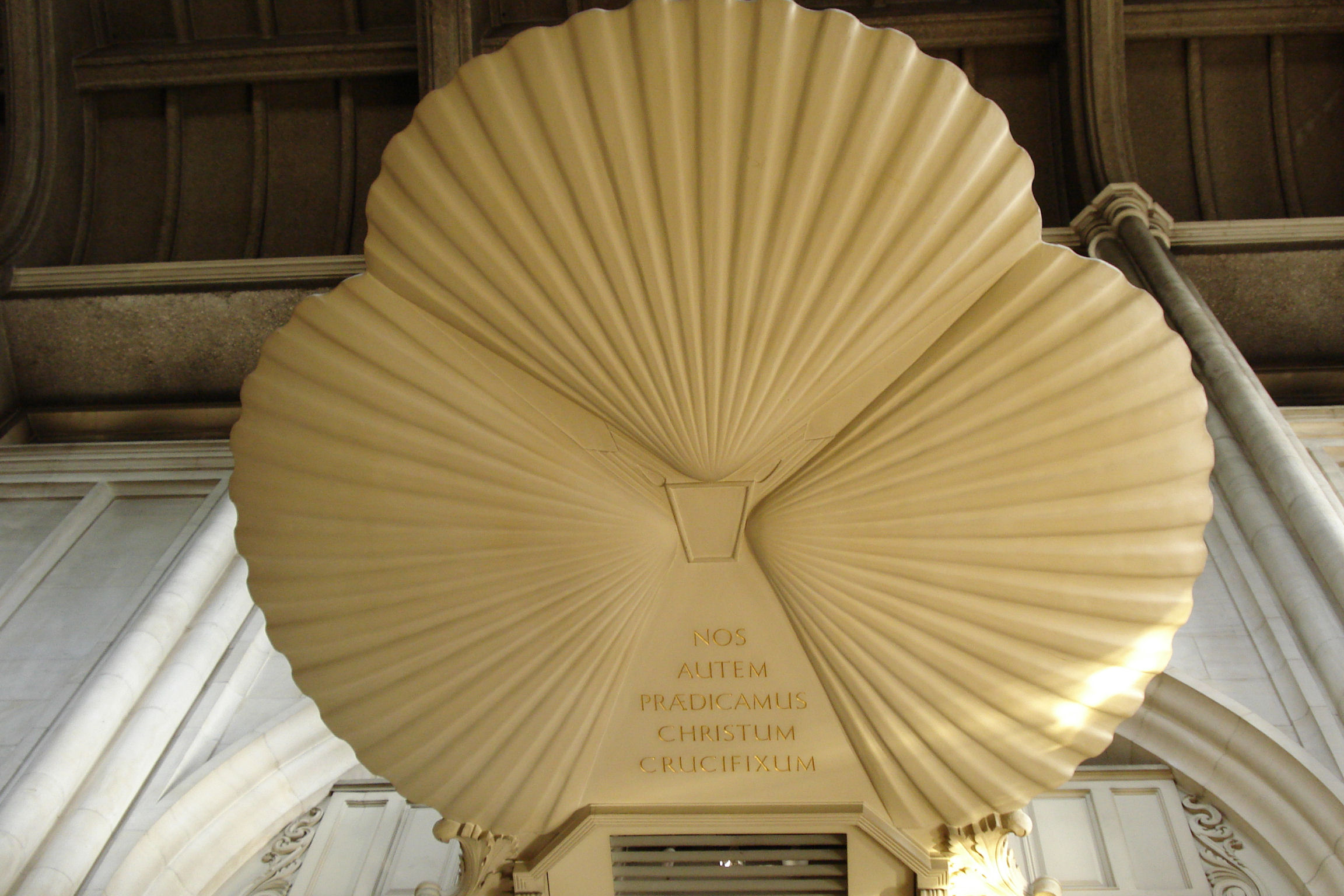 Shell soundboard above pulpit
