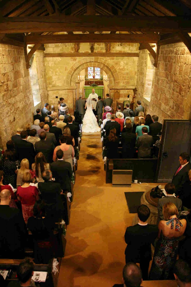 View from the gallery of a wedding