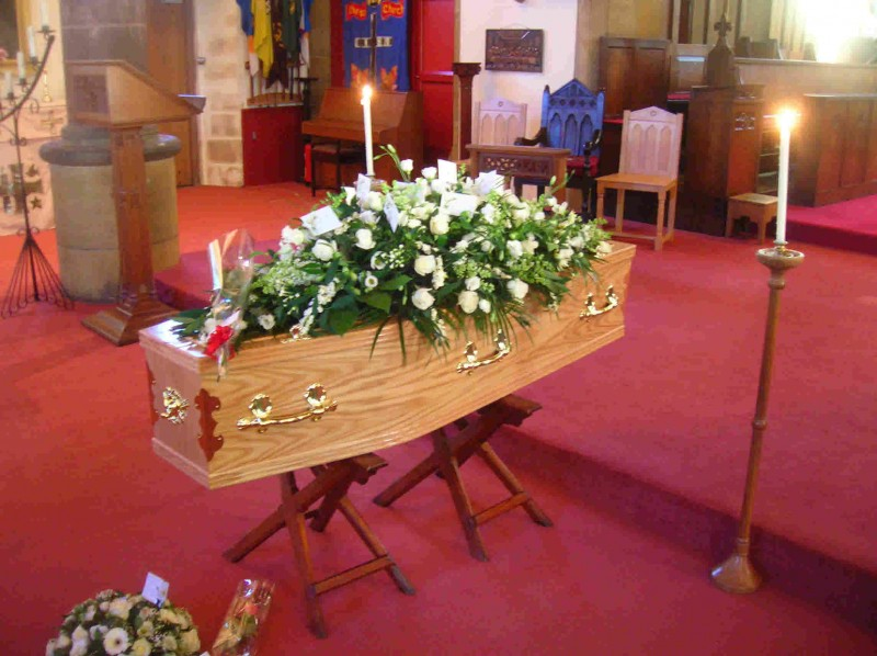 Coffin in Church for a funeral