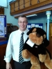 Pastor Doug with holiday club mascot Toby