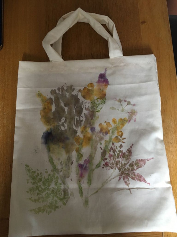 Tuesday 31st July Bags with flowers 'pounded' onto them!
