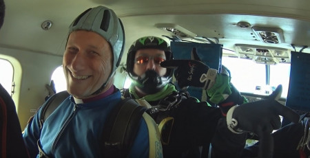 Open Video: Bishop and Prior sky dive to raise funds