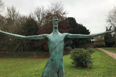 Open New Welcoming Christ statue unveiled at Launde Abbey