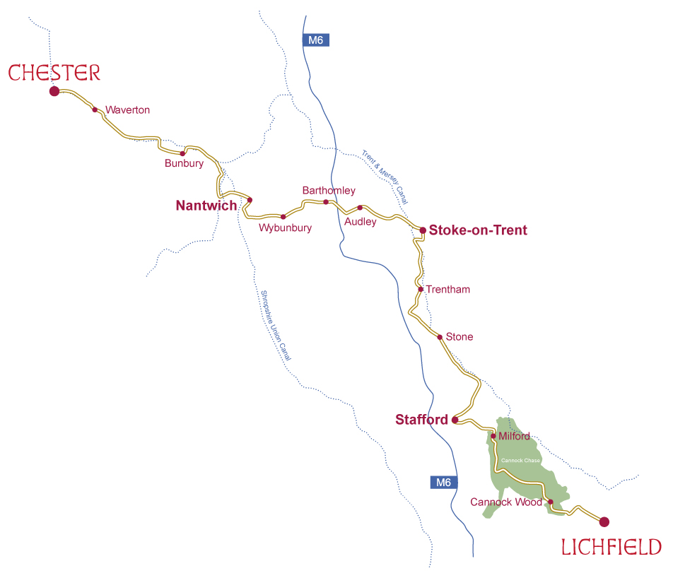 overview map of the Two Saints Way from Chester to Lichfield