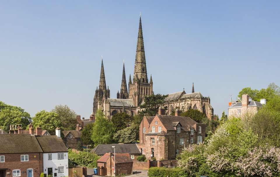 Lichfield Cathedral viewed from the south-east with St Mary's House in the foreground