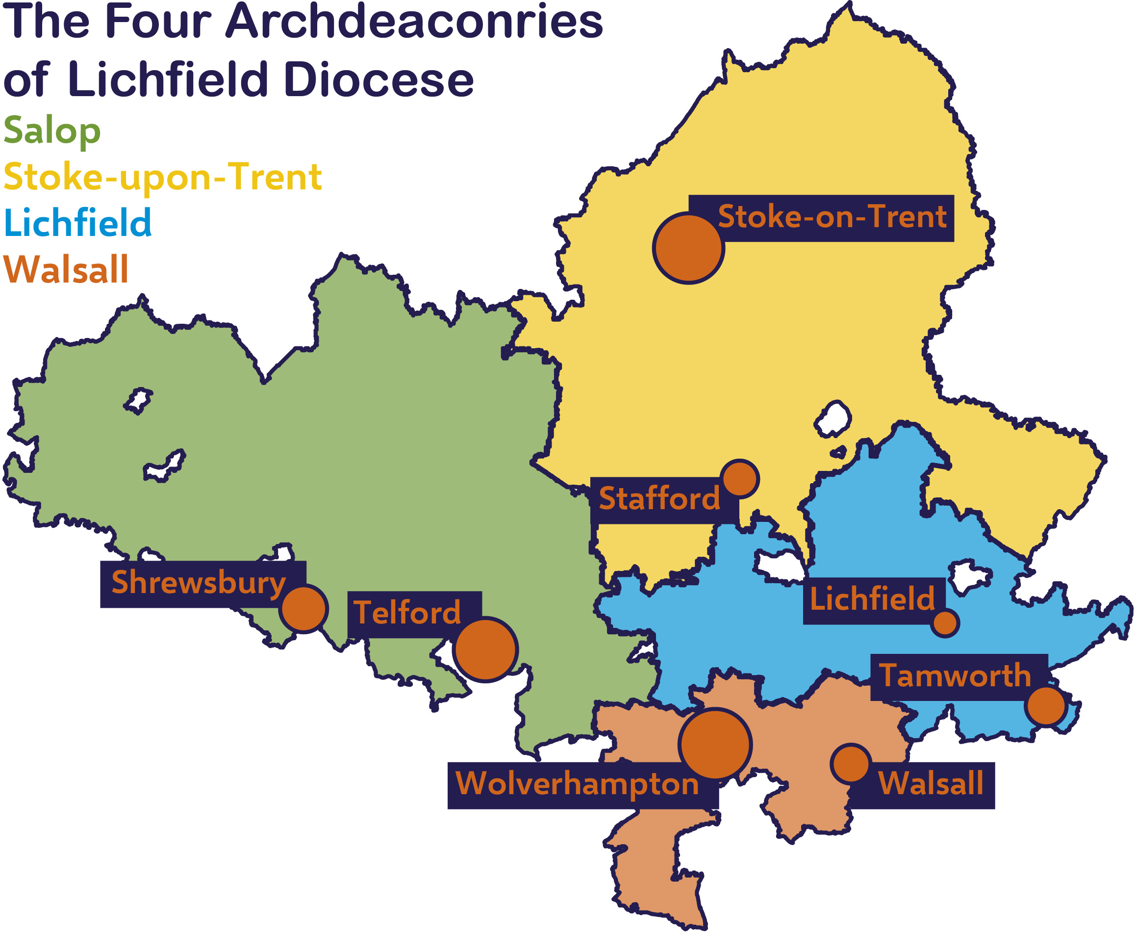 map showing the four archdeaconries of the Diocese and the key towns.
