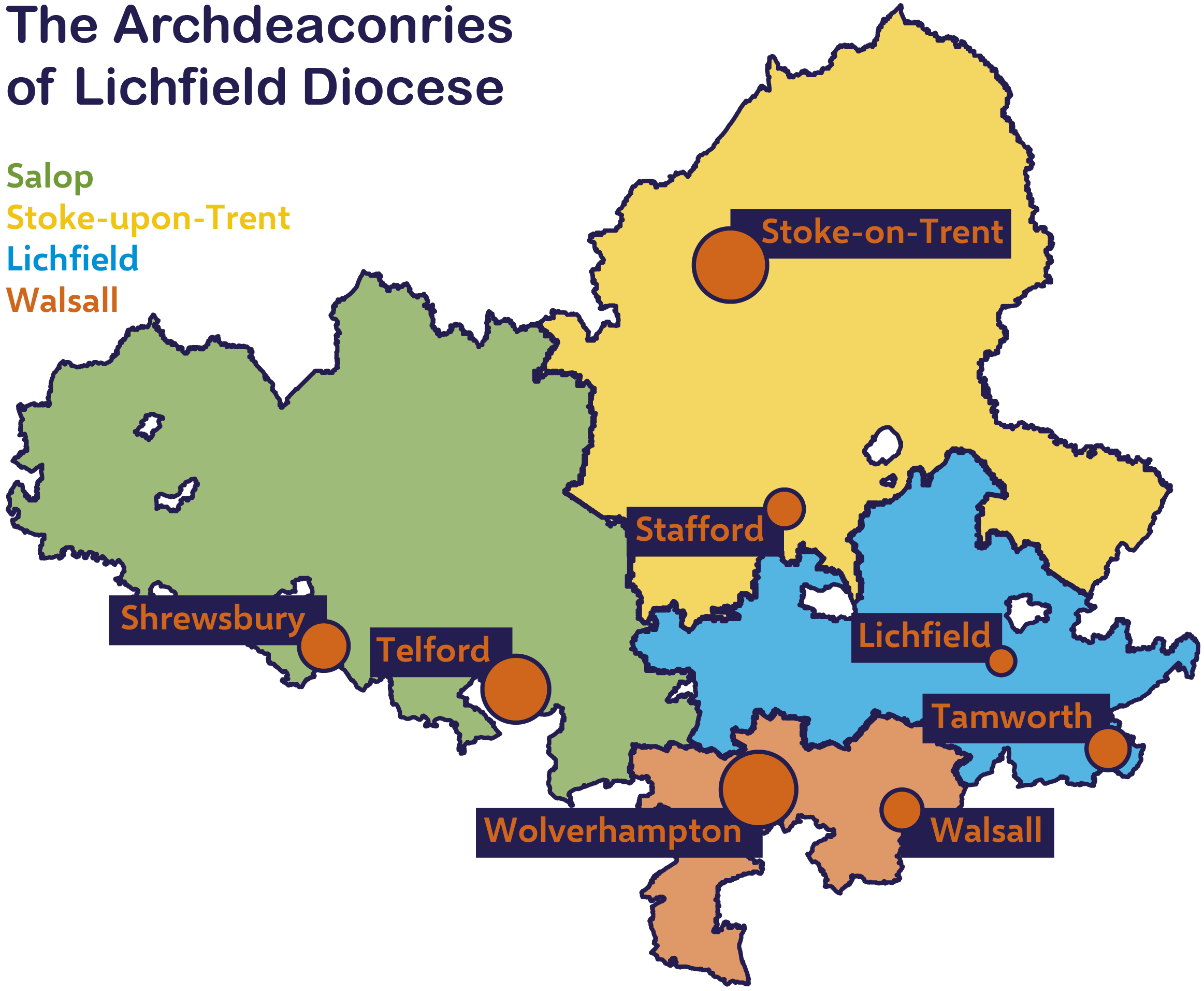 Map showing outline of the four archdeaconries of Lichfield Diocese and key towns