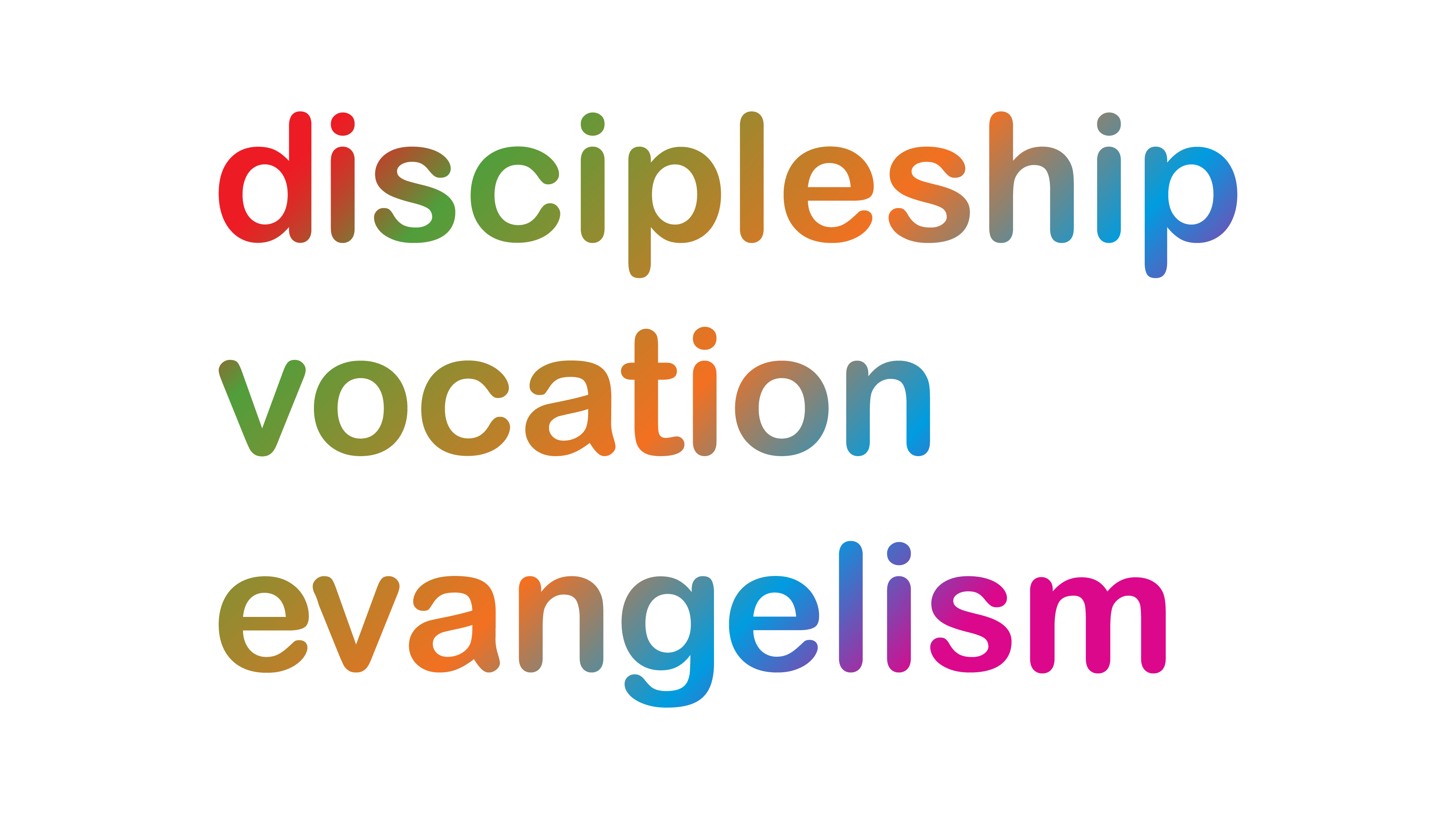 Discipleship - Vocation - Evangelism workmark in a spectrum of colours