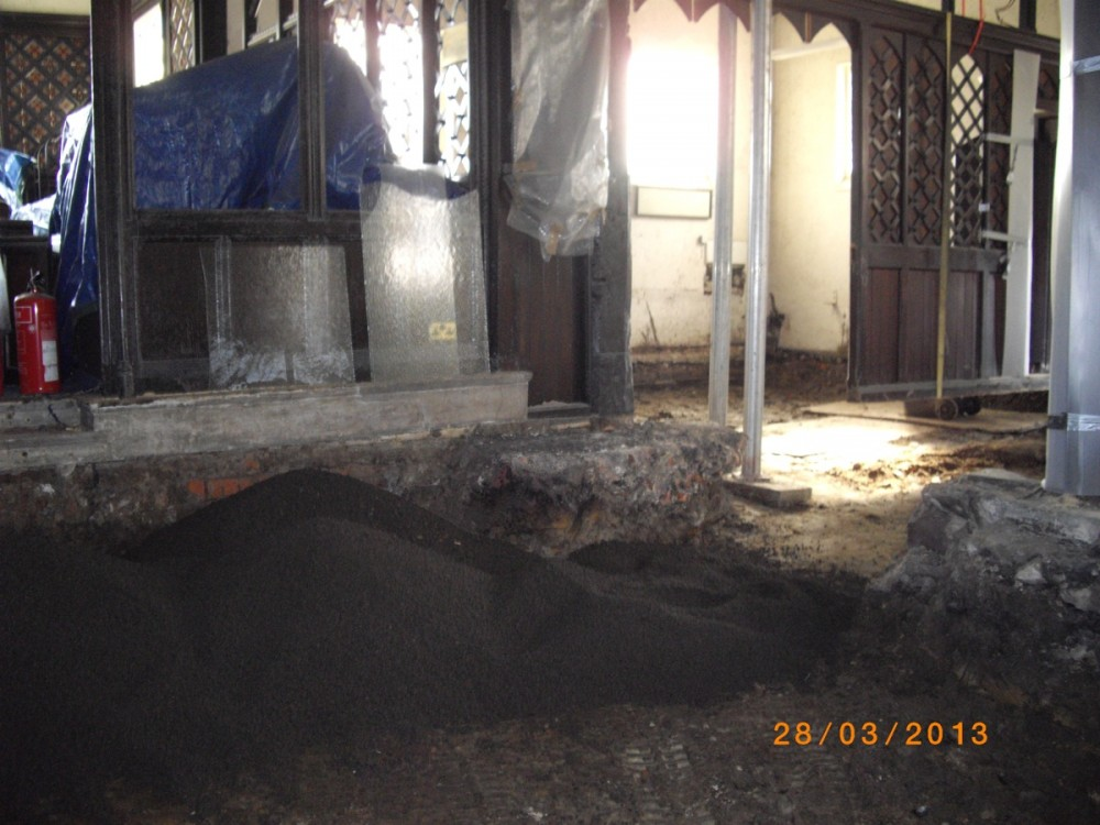 Work begins inside Church