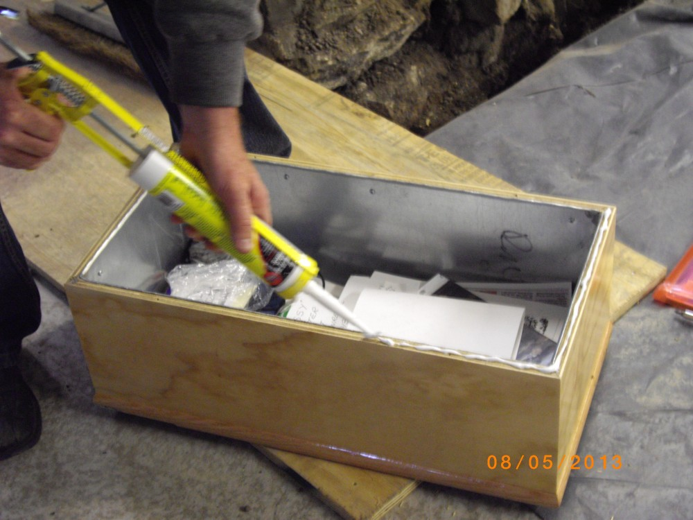 Time capsule being sealed