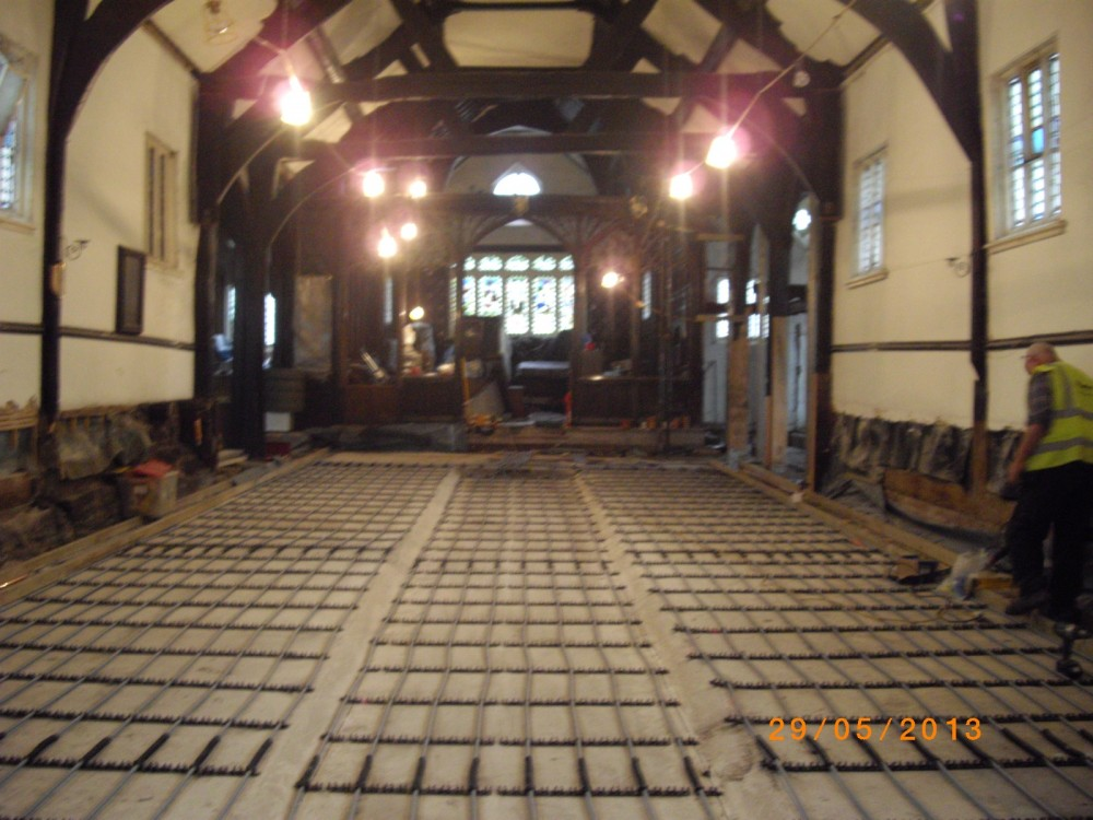 Under floor heating is installed